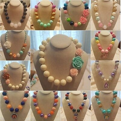 Kid girls chunky bubblegum beads fashion necklace $.01 ships after first item