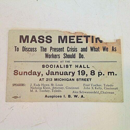 1919 Socialist Party Toledo Ohio Workers Crisis Mass Meeting Handbill Union IBWA