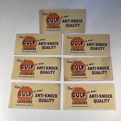 7 Vintage Good Gulf Gasoline is Anti-Knock Quality Advertising Ink Blotter Cards