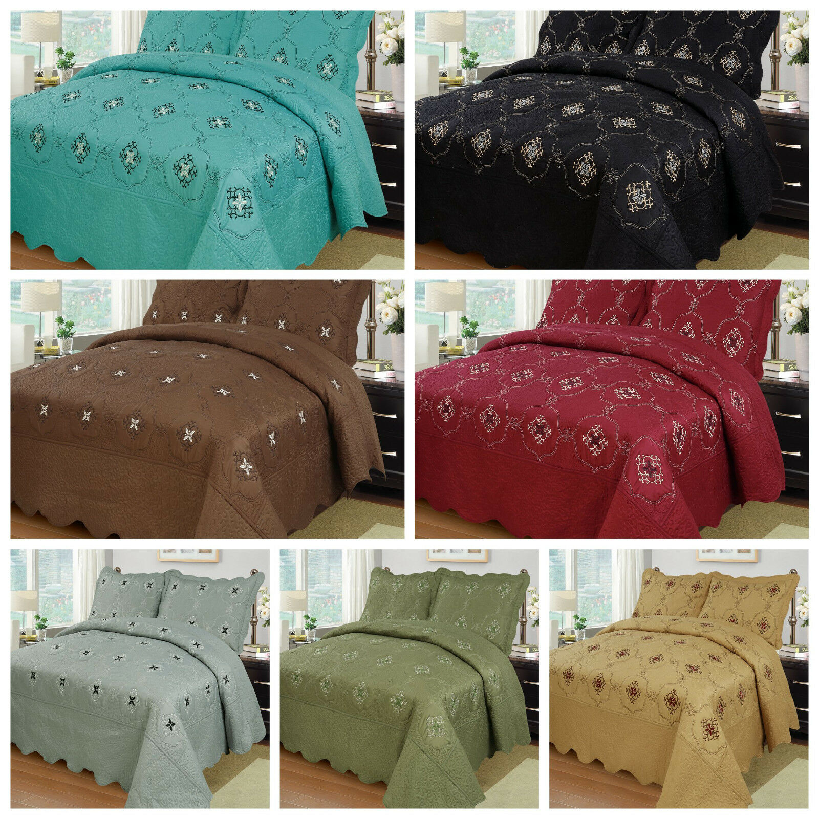 3pcs embroidery quilts bedspreads set bedding coverlet