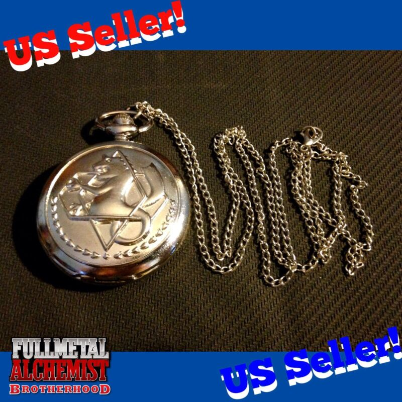 Fullmetal Alchemist Edward Elric State Pocket Watch Cosplay Anime NECKLACE Silve