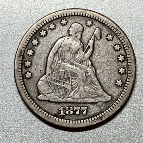 1877-CC SEATED LIBERTY QUARTER  NICE DETAIL KEY TYPE COIN