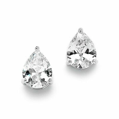 2 Carat CZ Pear-Shaped Cubic Zirconia Stud Solitaire Earrings Plated in Genuine -
