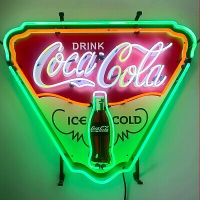 Ice Cold Coca Cola Shield neon sign on metal grid Coke Soda licensed Lamp