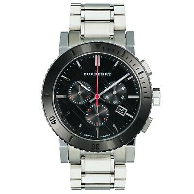 Mens Burberry chronograph watch with black dial and Swiss movement BU9380