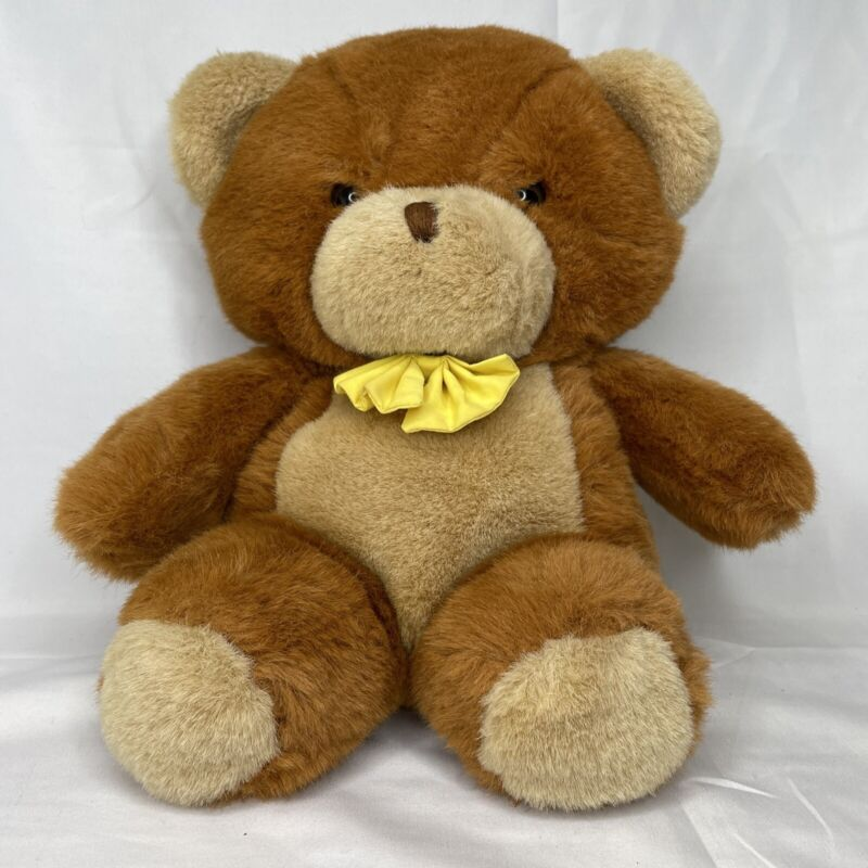 "Vintage 1987 Gerber TLC Yellow Bowtie Teddy Brown Bear Plush 12""-14"" Bow Tie"