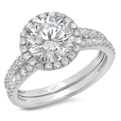 2.62ct Round Cut Halo Bridal Engagement Wedding Ring Band...