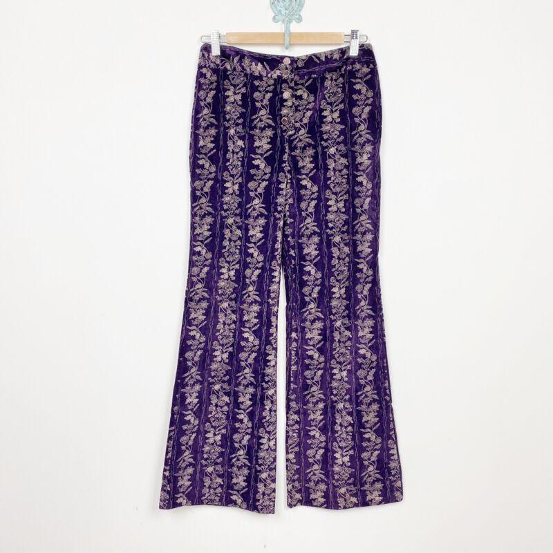 Vtg 70s Alpaq pant purple velvet velour floral print boho button fly boot flare
