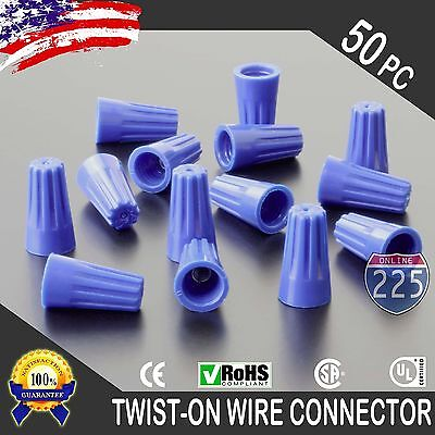 (50) Blue Twist-On Wire GARD Connector Conical nuts 22-14 Gauge Barrel Screw US