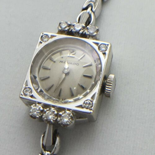 1960s white gold diamond Movado ladies wrist watch