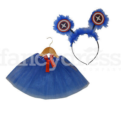 Girls Captain America Super Hero Dress Up Set Tutu Head Boppers Fancy Dress Up](Captain America Tutu Costume)
