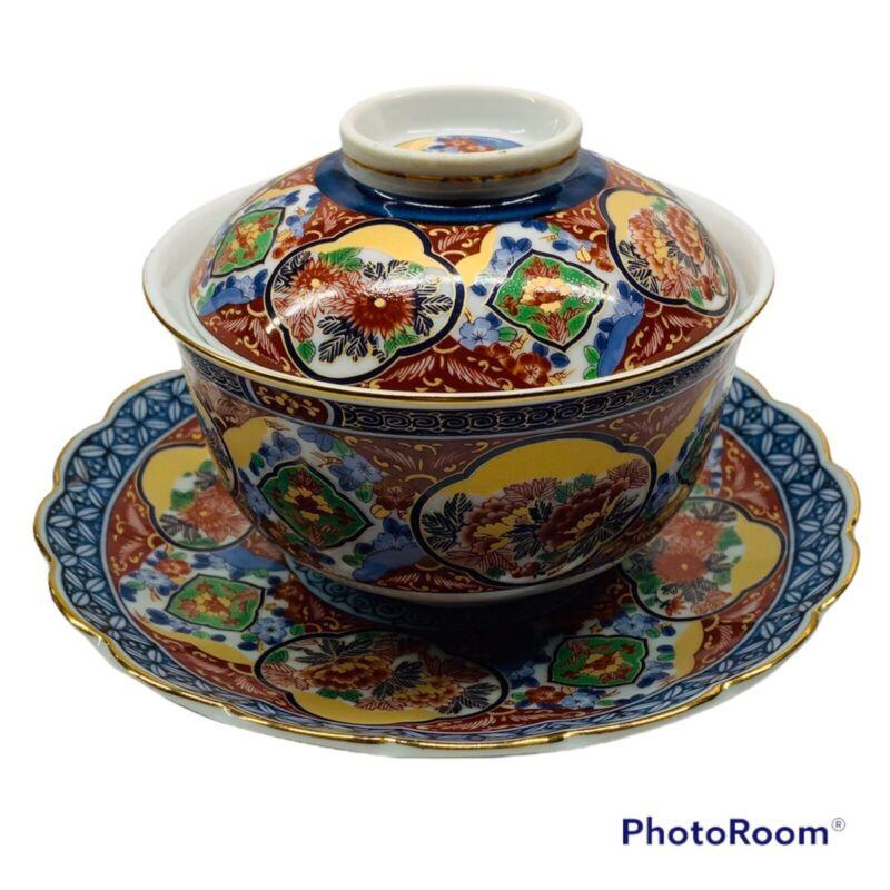 VTG Takahashi Japanese Imari Porcelain Rice Bowl with Lid And Matching Plate Set