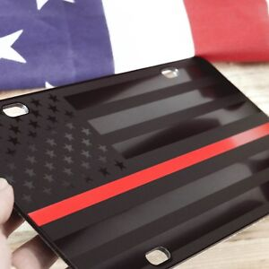 Firefighter thin red line Tactical American Flag License Plate Matte Black