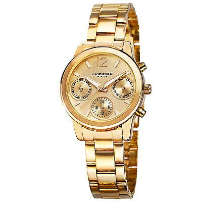 New Women's Akribos XXIV AK709YG Swiss Multifunction Gold-tone Steel Watch
