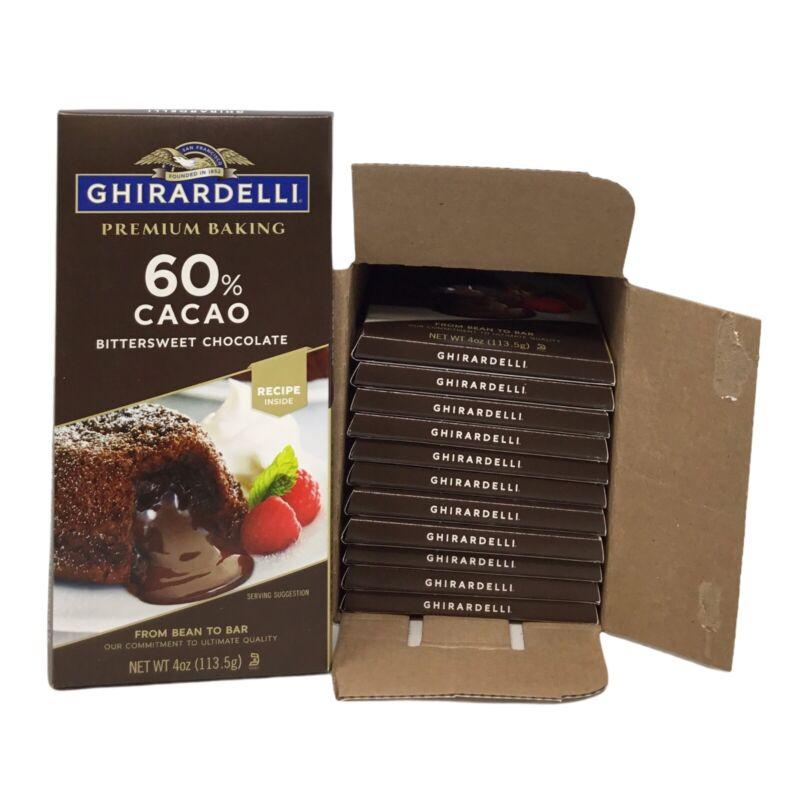 12 Bars Ghirardelli Premium Baking Chocolate, 60% Cocao, Bittersweet Chocolate