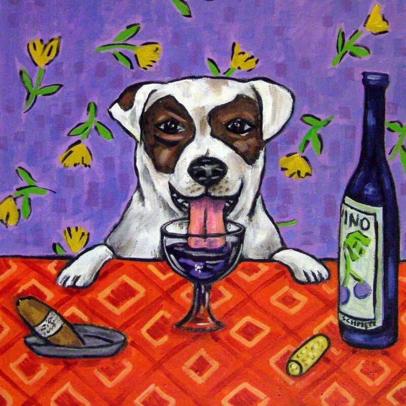 JACK russell terrier dog art tile coaster modern folk wine JSCHMETZ