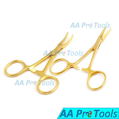 3.5 Mosquito Hemostat Forceps Clamp Locking Straight Curved Full Gold X2