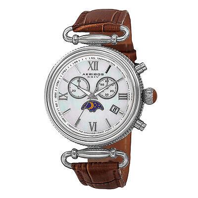 Women's Akribos XXIV AK754BR Swiss Chronograph Moon-phase Genuine Leather Watch