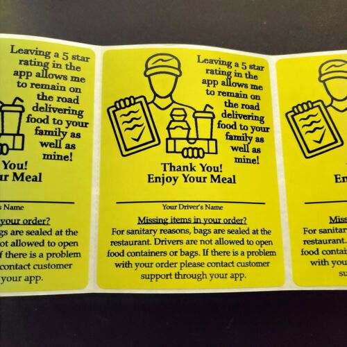 "100 Food Delivery Labels Bag Seal 4"" x 3"" DoorDash Grubhub UberEats Sticker"