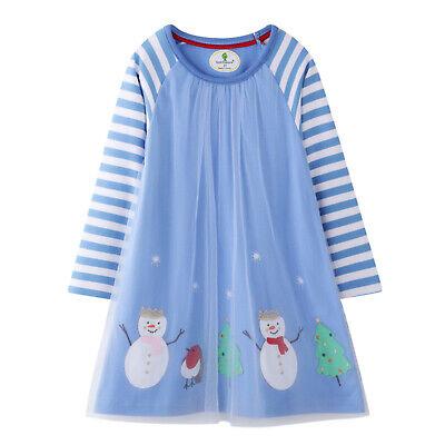 Kinder Mädchen Kleid Schneemann Prinzessin Kleidung Streifen Langarm - Schneemann Kostüm Mädchen