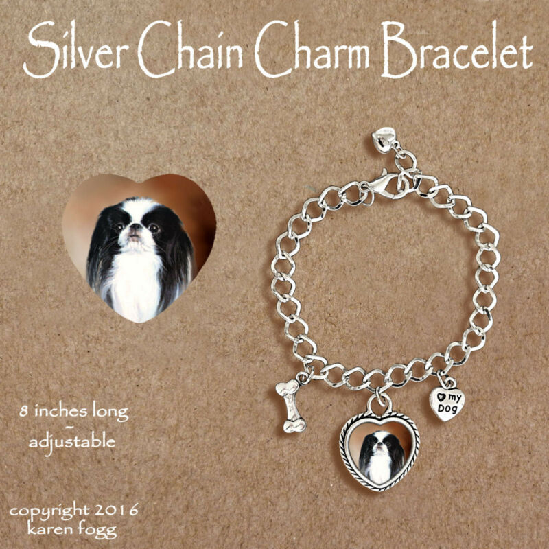 JAPANESE CHIN DOG - CHARM BRACELET SILVER CHAIN & HEART