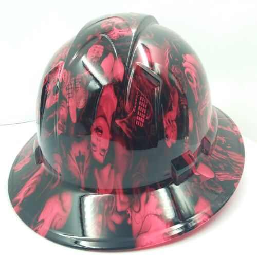 FULL BRIM Hard Hat custom hydro dipped , NEW HOT PINK TATTOO BABES BANDITO NEW 3
