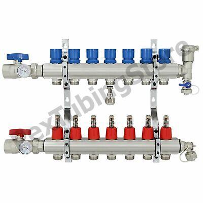 7-branch Pex Radiant Floor Heating Manifold Set - Brass For 38 12 58 Pex