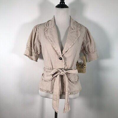 Anthro Nick & Mo Vintage Short Sleeve Belted Coat Lightweight Cotton Jacket S Cotton Short Sleeve Coat