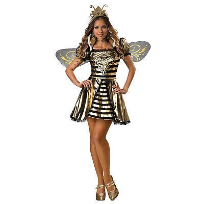 Adult Womens Queen Bumble Bee Gold Black Halloween Costume Dress Crown