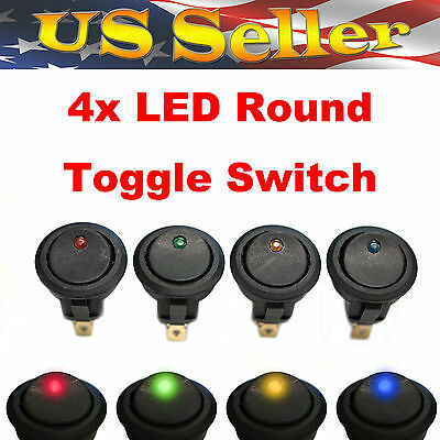 Red+Green+Yellow+Blue LED Light Round Rocker 12V 20A SPST Toggle Switch Car