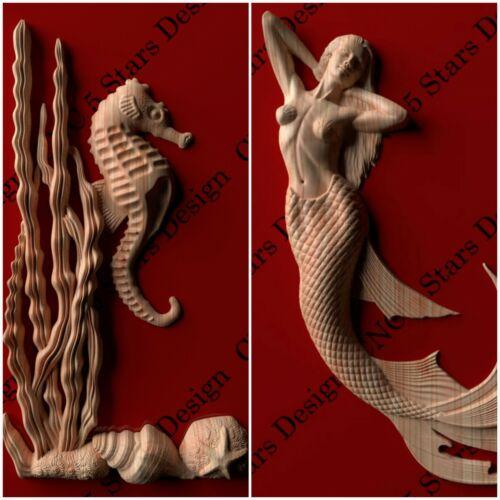 Mermaid  and Ocean floor  carved in wood