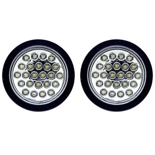 "(2) 4"" Round Work Truck Box Trailer Rv Back-Up Reverse Clear White 24-Led Lights"