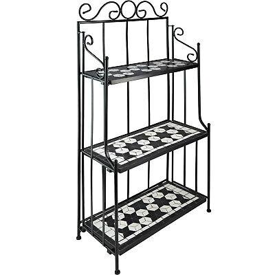 Metal Shelf Rack Mosaic Furniture 3 Shelves Display Plants Nostalgia Black-White