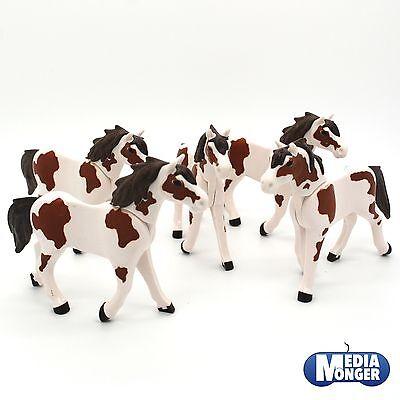playmobil® Western Reiterhof Set : 5 x Pferd braun | weiss 3. Generation Herde