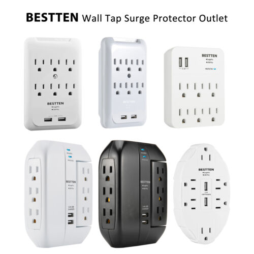 Wall Tap Surge Protector USB Outlet Charger Adapter, 6 Elect