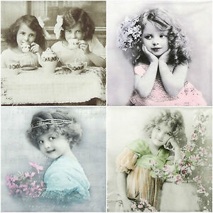 4 x Single Luxury Paper Napkins for Decoupage and Craft Vintage Girls