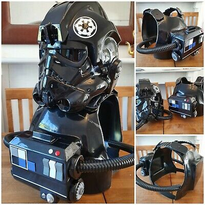 Star Wars Tie Pilot Helmet, Armour, chest box and hoses, new and READY TO WEAR.