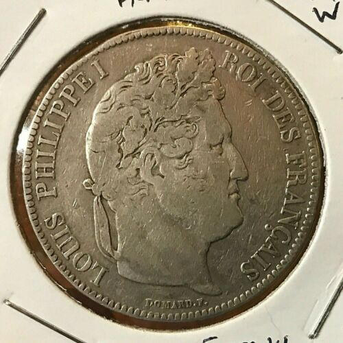 1834-W FRANCE SILVER 5 FRANCS CROWN COIN