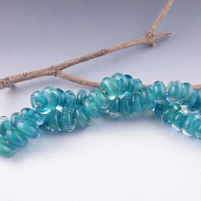 """8 Handmade Lampwork Glass Beads, Artist made Beads - """"Indian Ocean"""""""
