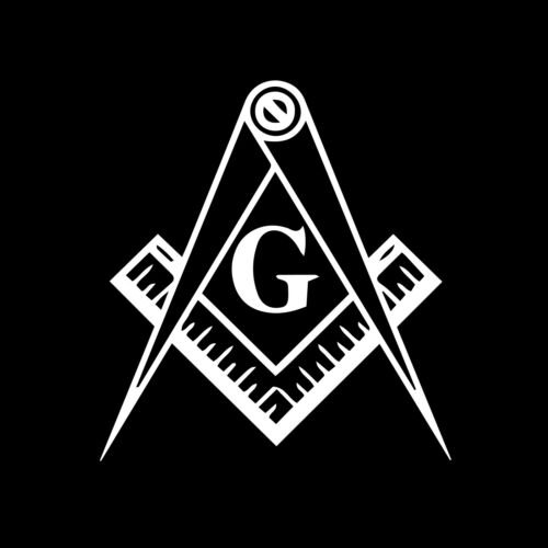 Square & Compass with G Masonic Vinyl Decal - White 6 Inch
