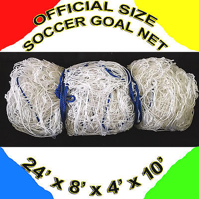 350d40bac76 2 white OFFICIAL SIZE SOCCER GOAL NETS NETTING 24  x 8  x 4  x 10