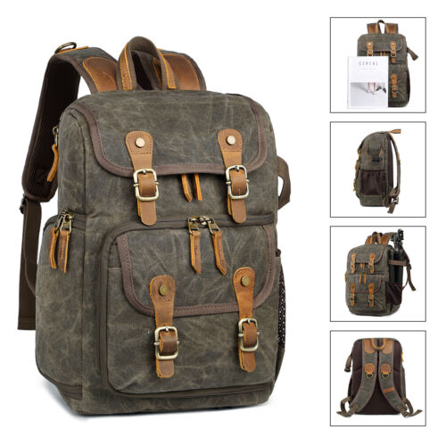 BlackGrey Allacki Waterproof Shock-Resistant Canvas Camera Bag Retro Style Travel Backpack