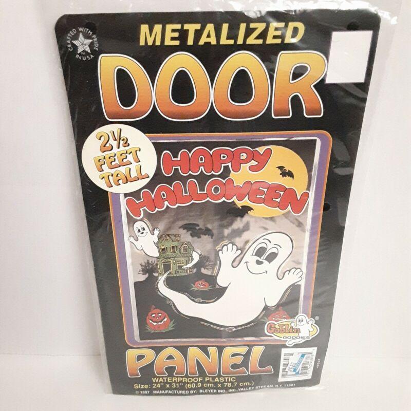 """Vintage Happy Halloween Ghost Door Panel 1997 Goblin Goodies 24x31"""" Decor NIP"""