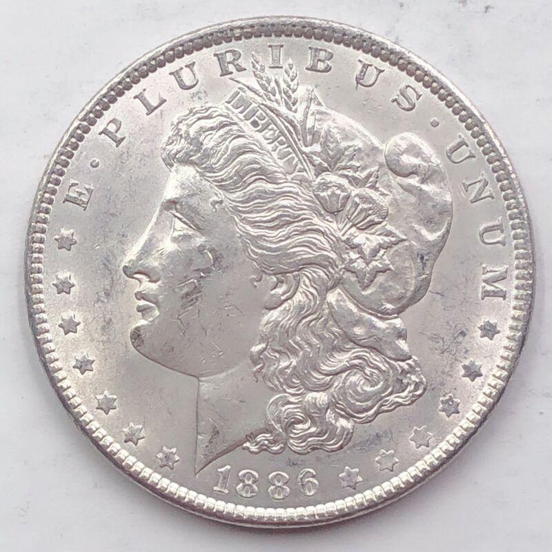 1886 UNCIRCULATED BU MORGAN SILVER DOLLAR 90 SILVER 1 COIN US SA80 - $27.00