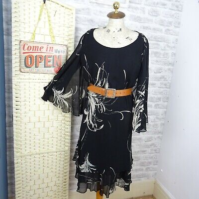 JONES NEW YORK pure silk chiffon ditsy floral tea dress boho lined floaty M/L D2