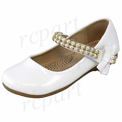 New girl's kids beads formal dress wedding shoes white bow formal holiday ](Girls White Dress Shoes)