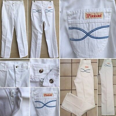 """Vintage PIZZAZZ Pants High Waist 70s 80s White Made In USA 12 27"""" Waist"""
