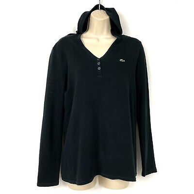 Lacoste Waffle Knit Hoodie 42 Medium Lightweight Long Sleeve Top M Womens Black