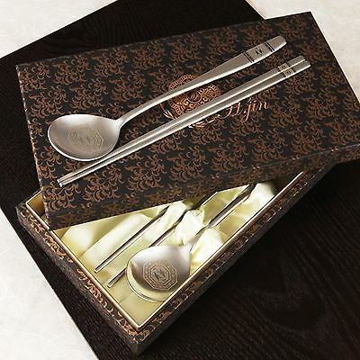 High-quality Stainless Steel Korean Spoon Chopsticks Set Twin Crane Dining tool