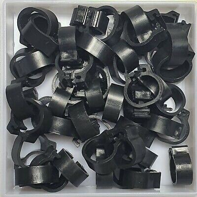 25 x BLACK 8mm PLASTIC PIGEON LEG CLIP CLICK RINGS